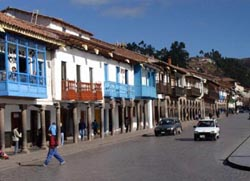 Colonial buildings on the Plaza De Armas in Cusco