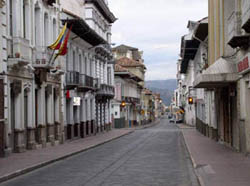 Deserted street in beautiful, colonial Cuenca in the morning