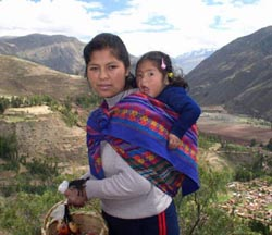 Inca girl and baby on the road to Ollantaytambo