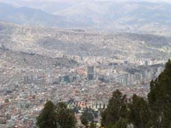 La Paz, Bolivia, looking down from the rim of the Altiplano