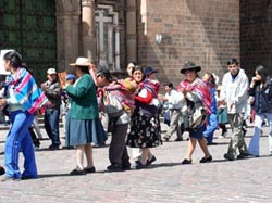 Indigenas protesting a school closing in Cusco