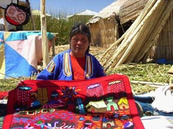 Maria, selling trinkets to tourists on Lake Titicaca