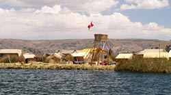 A reed island on Lake Titicaca.  One of only two or three such communities in the world.
