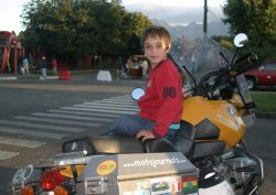 Young man on his first motorcycle