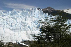 The 200-foot tall face of Moreno Glacier from about 1,000 feet away